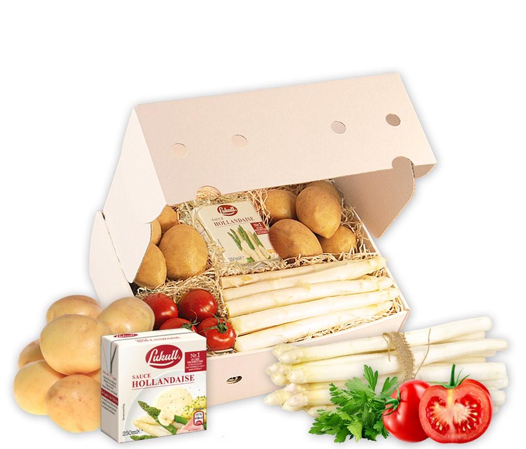 Rezeptbox Spargelzeit mit leckerem Spargel, Kartoffeln, Tomaten & Sauce Hollandaise