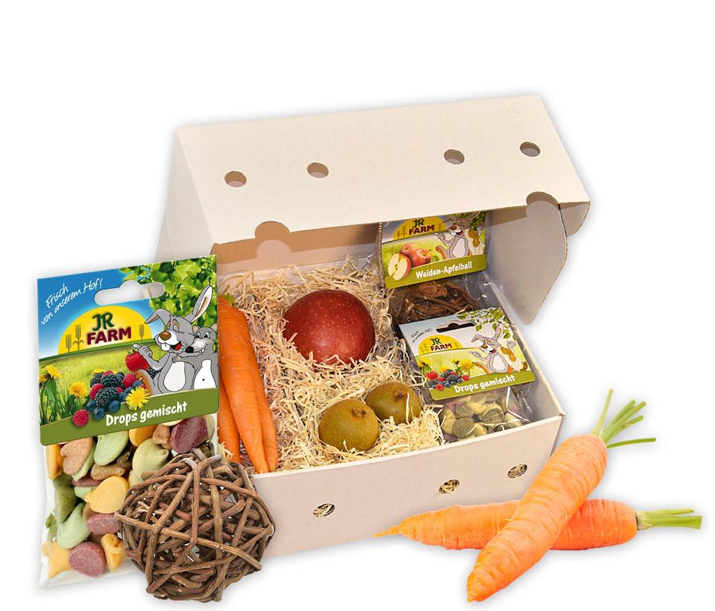 Geschenkbox für Hasen mit frischem Obst, Hasenleckerlie und Weiden-Apfelnball