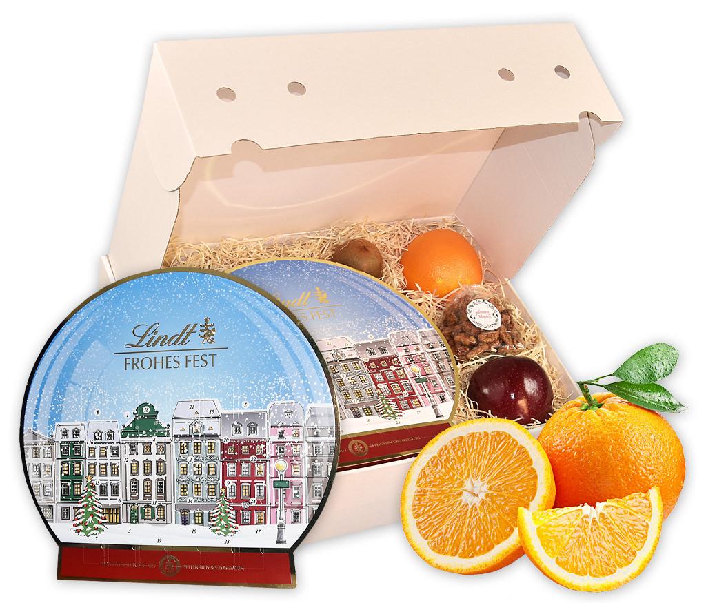 Geschenkbox Adventskalender mit Lindt Adventskalender und Obst