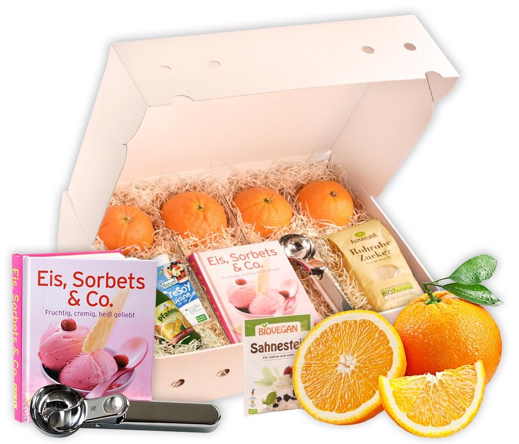 Obstbox Orangen-Eis, alle Zutaten für ein leckeres Eis mit Rezeptbuch und WMF-Eisportionierer in einer Geschenkbox