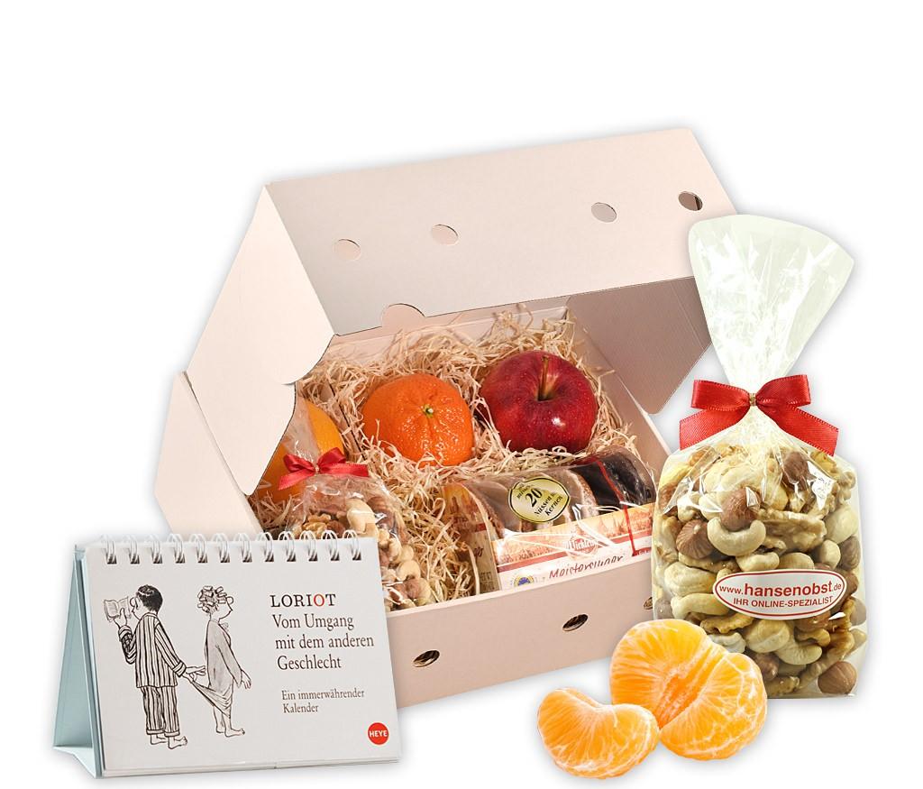 Obstbox Time mit immerwährendem Kalender, Nürnberger Lebkuchen, Nüssen und frischem Obst