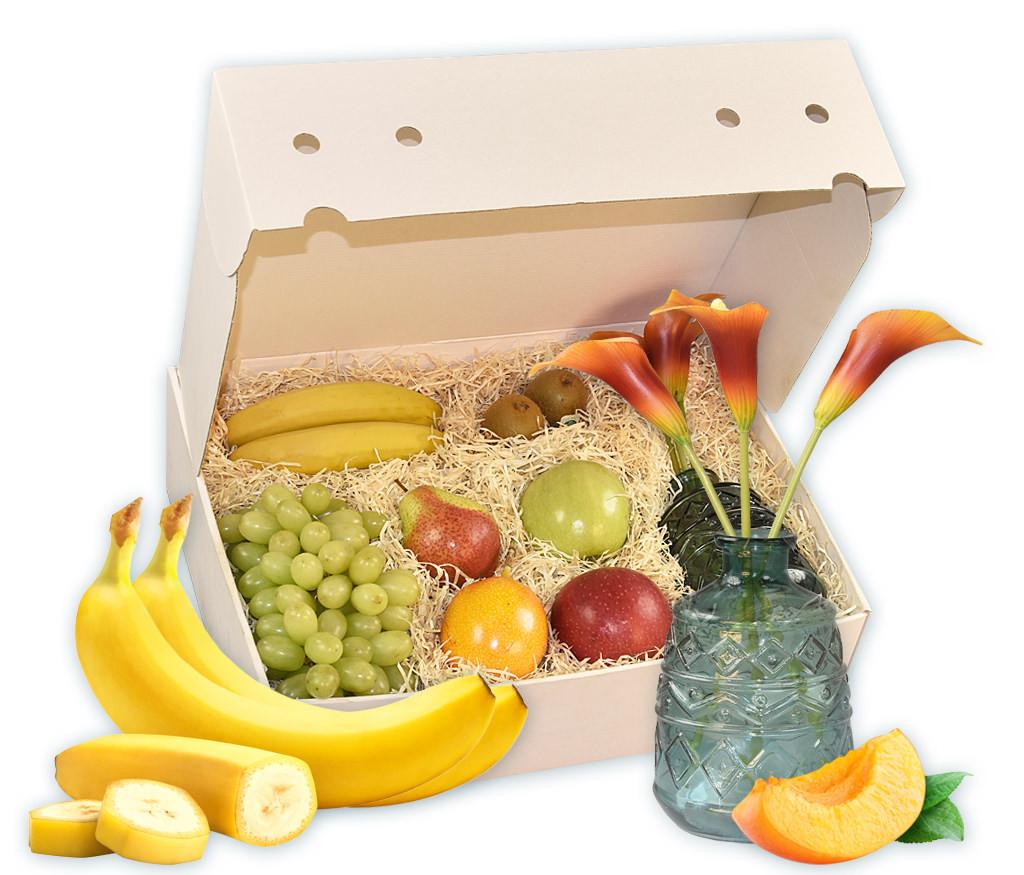 Geschenkbox Blütezeit mit frischem Obst, Deko-Glasvase und Kustblumen Calla