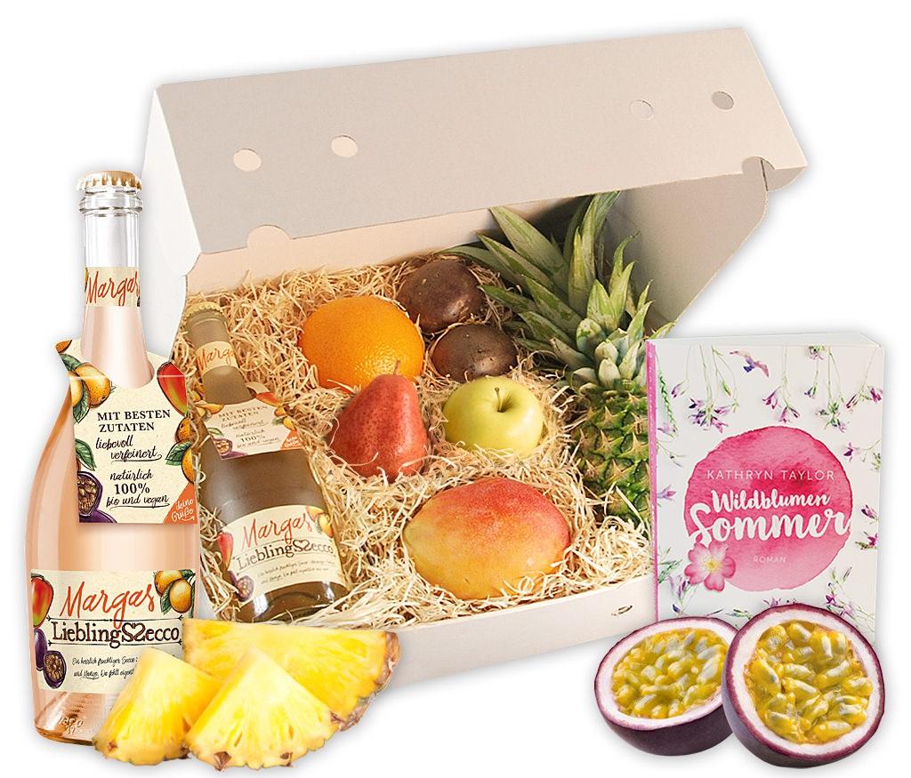 Obstbox Herbstlektüre mit frischen Früchten, Lieblings-Secco und Leselektüre für den Herbst