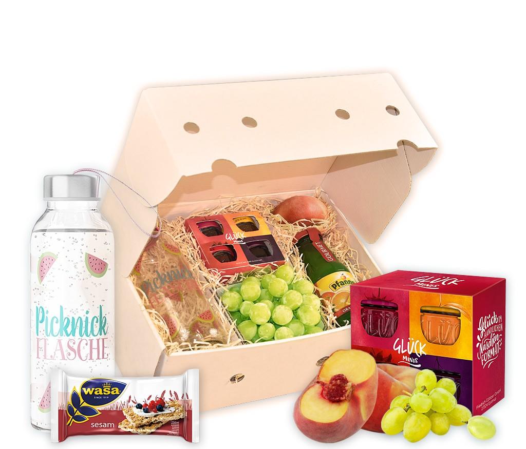 """Obstbox """"Picknick"""" mit frischem Obst, bunten Eiern, Saft, Glasflasche, Frühstücksbrettchen und Emaillebecher"""