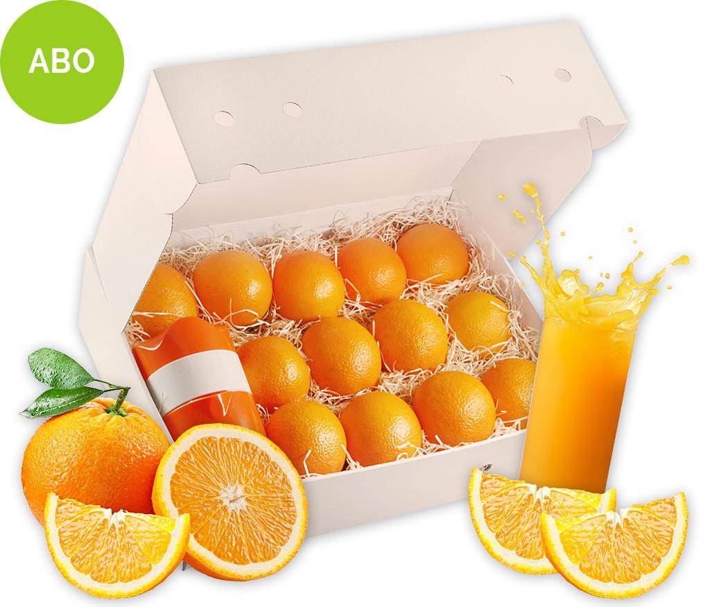 Obstbox für frisch gepressten Orangensaft - saftige Pressorangen in einer Obstbox, wahlweise mit manueller Saftpresse im 4-Wochen-Abo