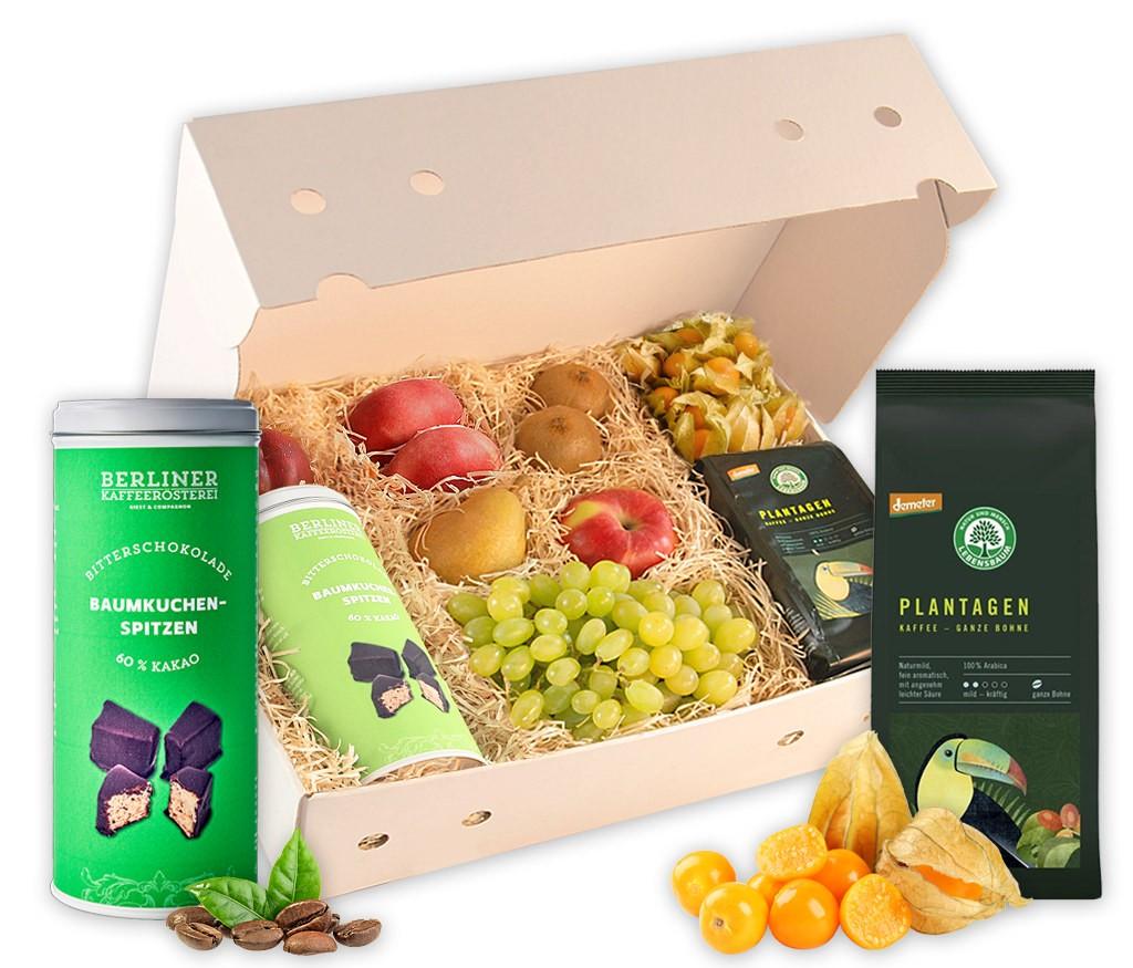 Obstbox Kaffee und Kuchen mit BIO Plantagen-Kaffee, Baumkuchen Windlicht und frischem Obst
