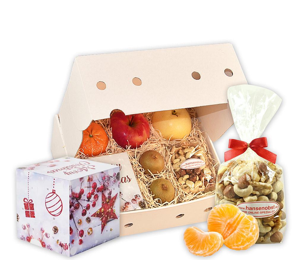 Geschenkbox Adventskalender mit Lindt Adventskalender-Würfel, Nussmix und frischem Obst
