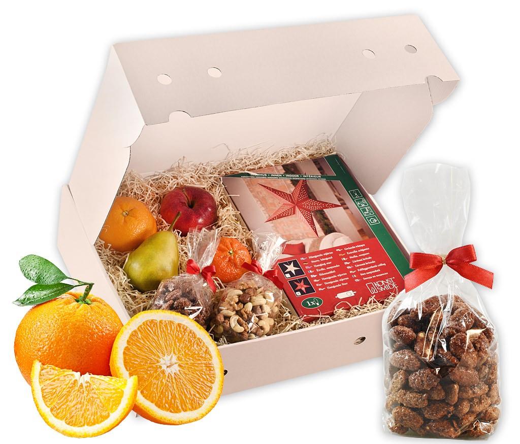 Obstbox Leuchtstern mit großem roten Faltstern, Nussmix, gebrannten Mandeln und frischem Obst