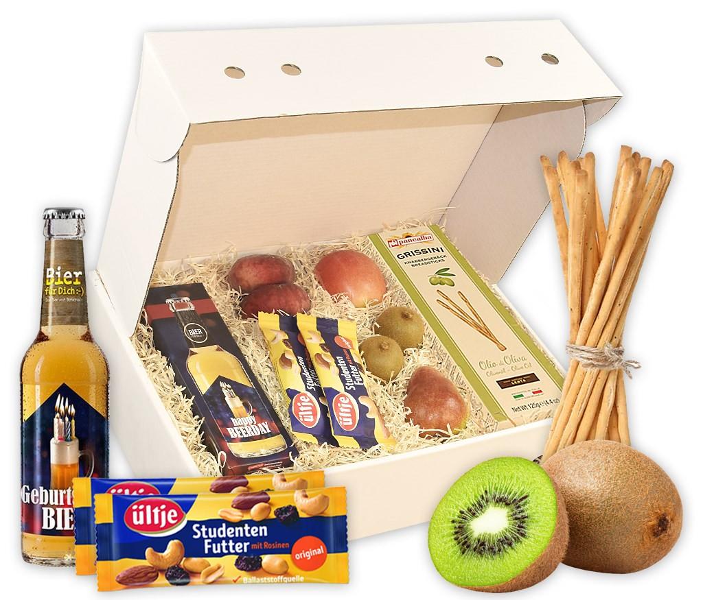Obstbox Statt Blumen mit Bier, Bierglas, BIO Mini-Brezeln und frischen Früchten