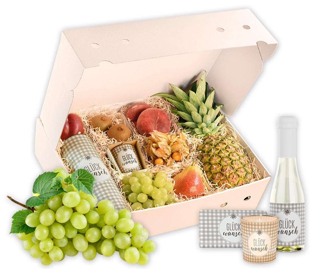 Obstbox Herzlichen Glückwunsch, frisches Obst mit Geburtstags-Prosecco und Windlicht