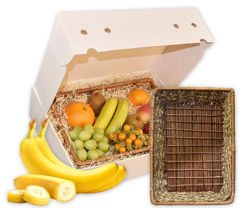 Obstkorb Geflecht als ideales Geschenk mit frischen Früchten und einer modernen Obstschale