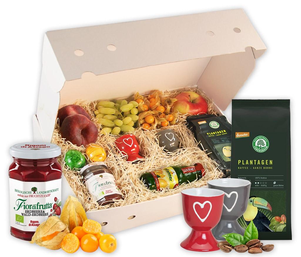 Obstbox Frühstück mit vitaminreichen Obst, süßer Marmelade und BIO Plantagen-Kaffee