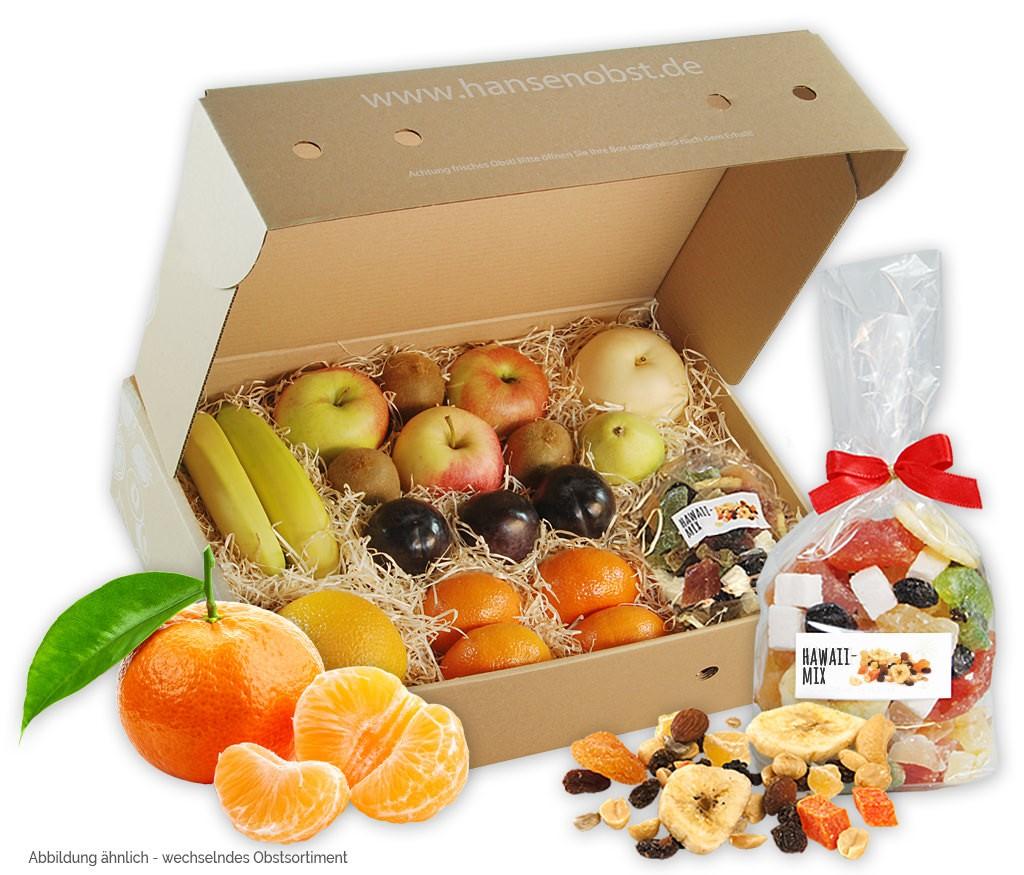 4-Wochen-Schnupper-Abo-Obstbox für eine gesunde Pause zwischendurch mit vielen leckeren Früchten und Nüssen oder Trockenobst am Arbeitsplatz
