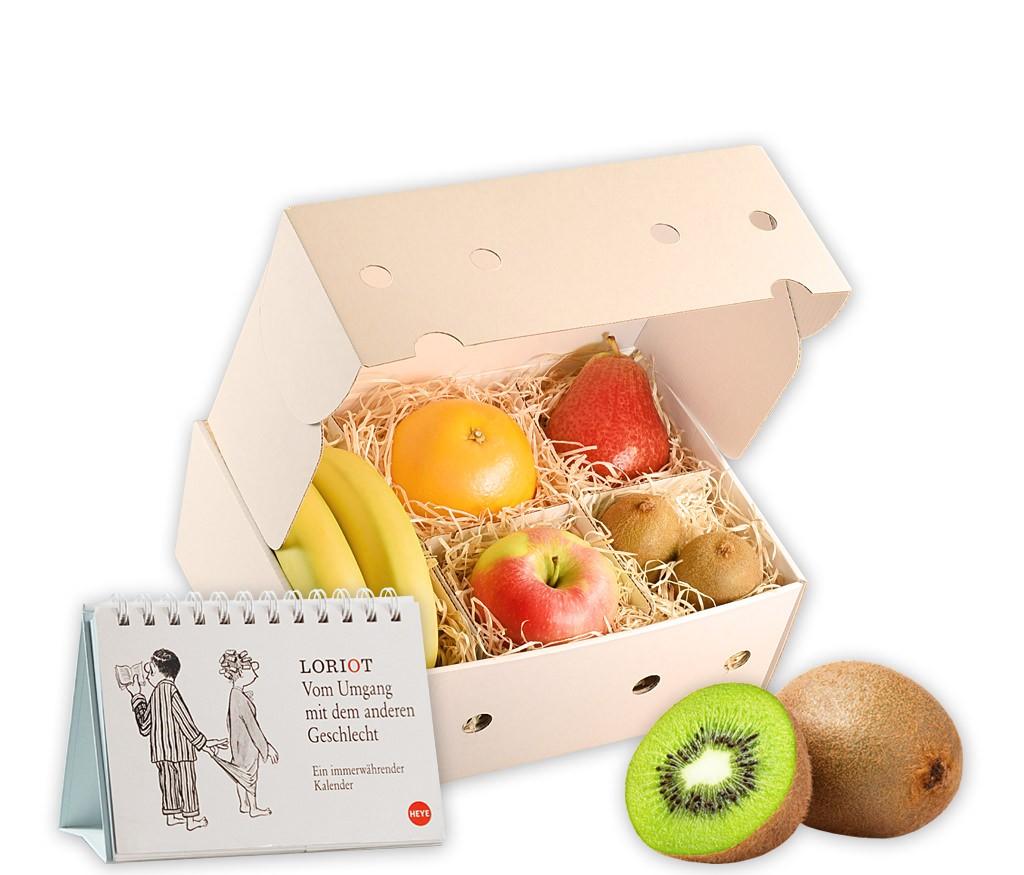 Obstbox Loriot - Viel Glück mit immerwährendem Kalender und frischem Obst