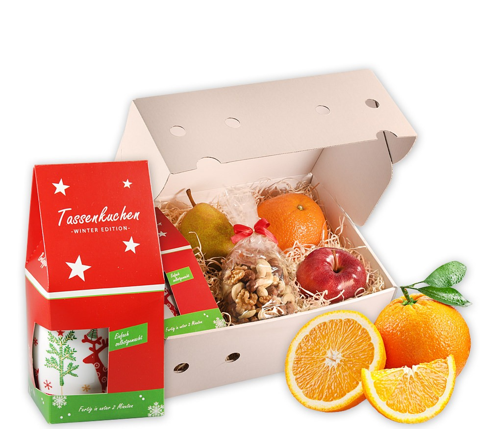Obstbox Bratapfel mit frischem Obst, gesunden Nusskernen und winterlichem Tassenkuchem mit Bratapfel-Geschmack