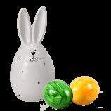 Keramik-Osterhase mit Punkten & zwei bunte Eier