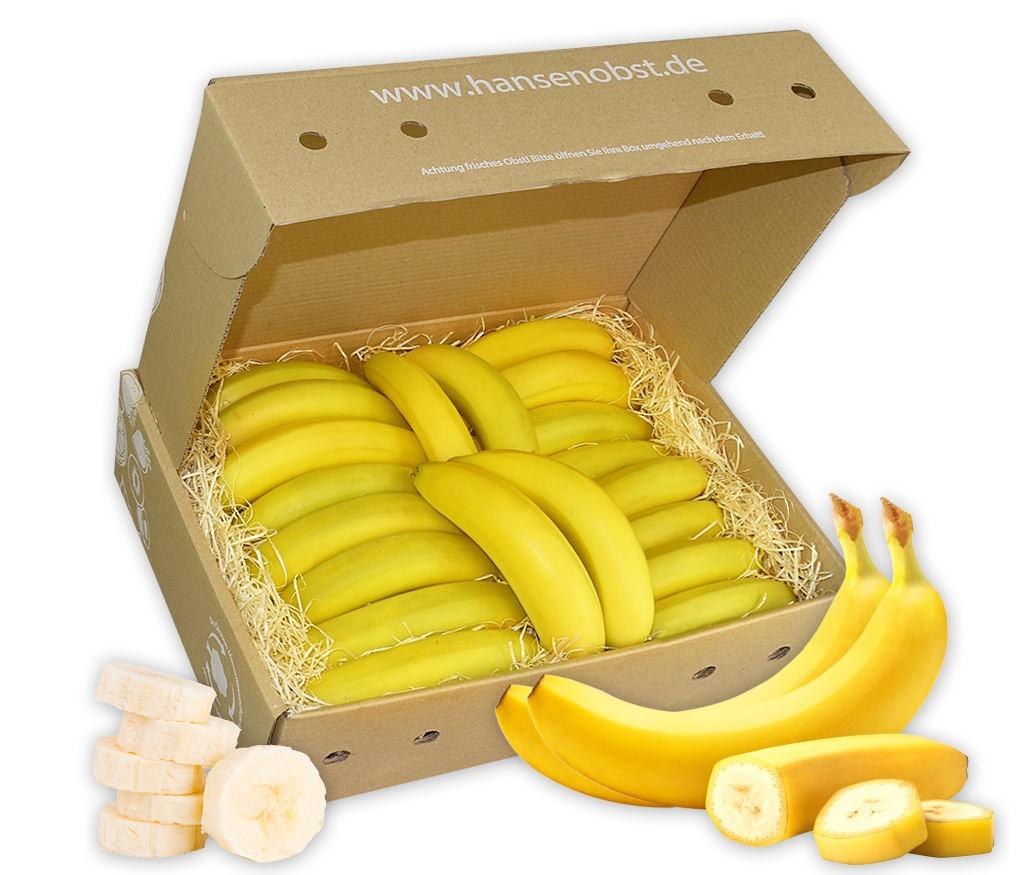 Business-Bananen-Obstbox für die gesunde Pause zwischendurch mit viel frischem Obst für den Arbeitsplatz