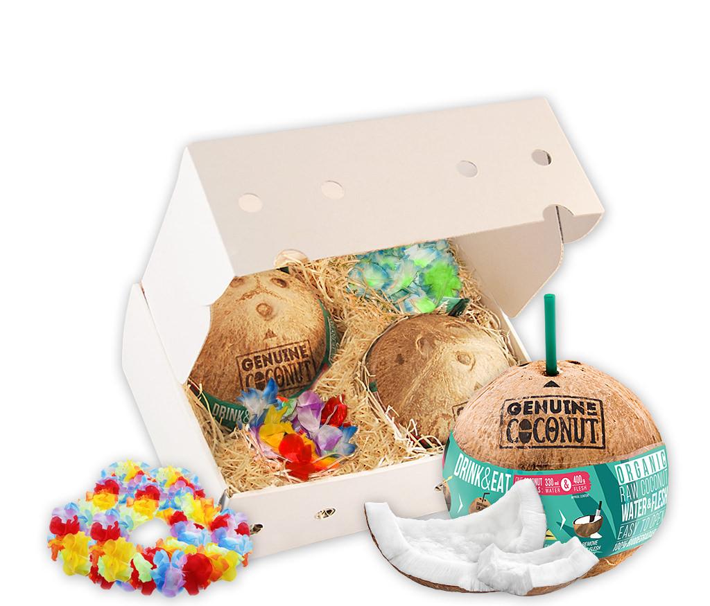 Geschenkbox Kokosnuss für Zwei mit BIO Trinkkokosnüssen und Hawaii-Ketten