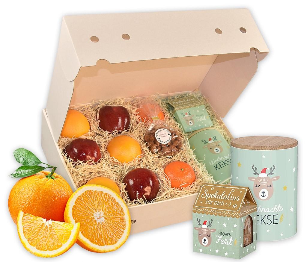 Obstbox Weihnachtsplätzchen mit Vorratsdose, Kekshaus, gebrannten Mandeln und frischem Obst