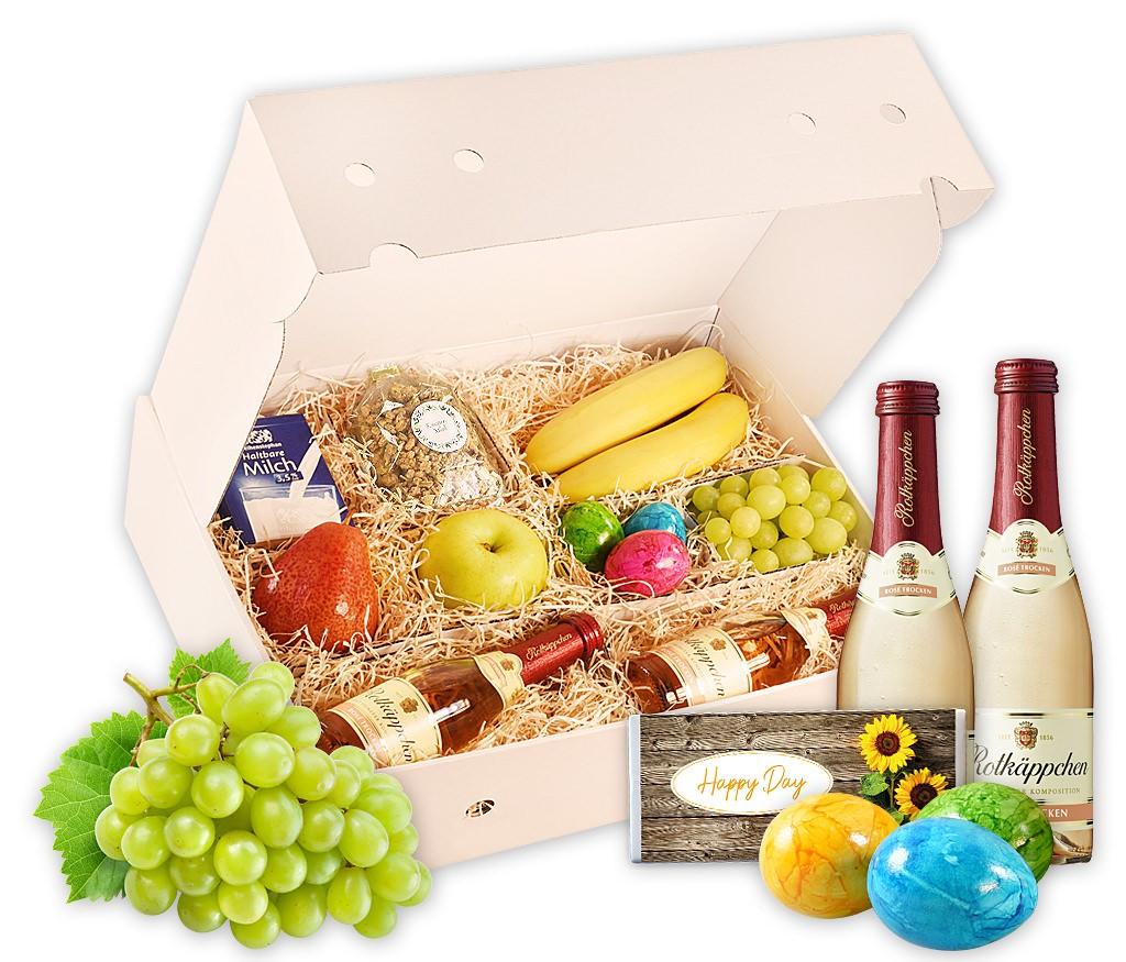Obstbox Sektfrühstück für ein romantisches Frühstück zu Zweit, mit 2 Piccolo-Flaschen Sekt, Eiern, Müsli, Milch, Lindt-Pralinen und Obst