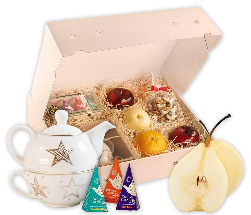 Obstbox Tea-Time mit Teekanne und Tasse, BIO Weihnachtstee, gebrannten Mandeln und frischem Obst