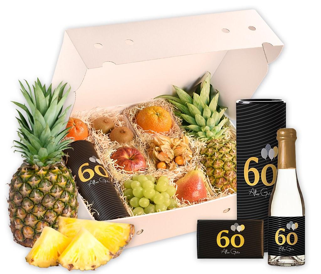 Obstbox Alles Gute zum 60. Geburtstag mit frischem Obst, Geburtstags-Prosecco, Windlicht und Schokolade