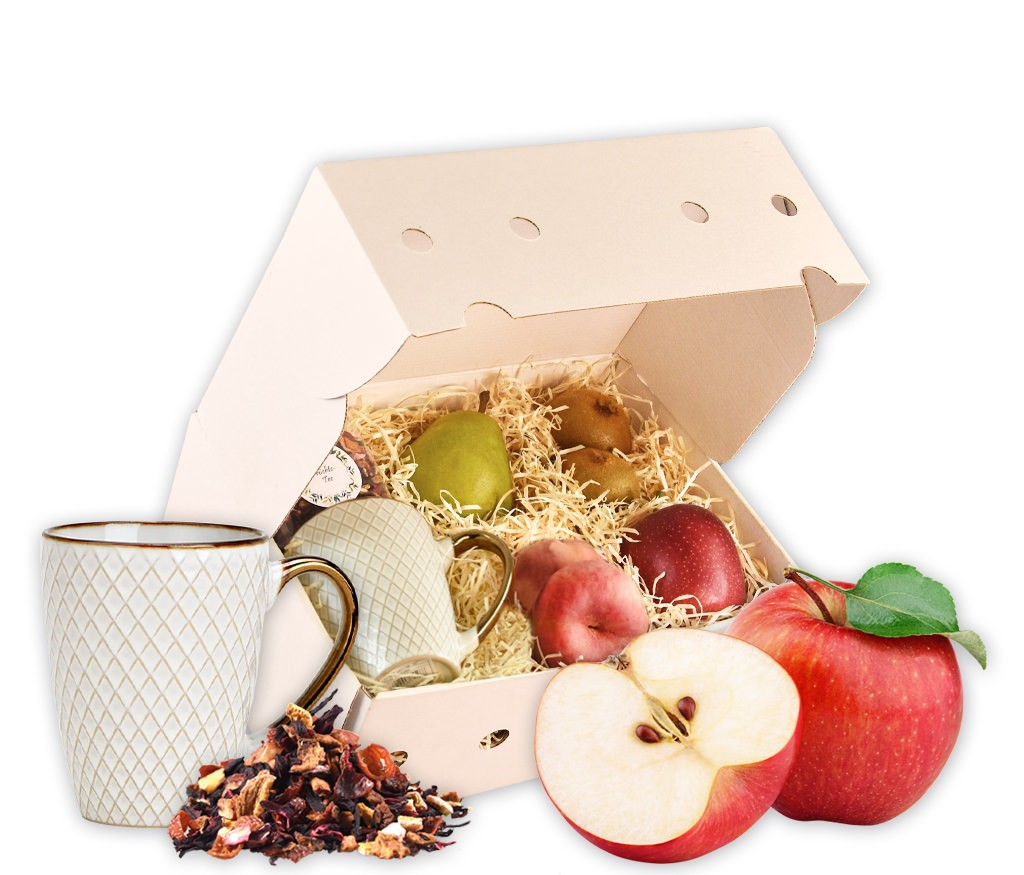 Obstbox Kleine Auszeit, frisches Obst, eine Tasse und Früchte-Tee