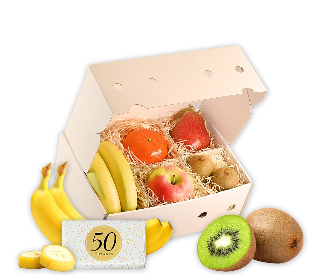Obstbox Glückwunsch zum 50. Geburtstag mit frischem Obst, Geburtstags-Prosecco, Windlicht und Schokolade