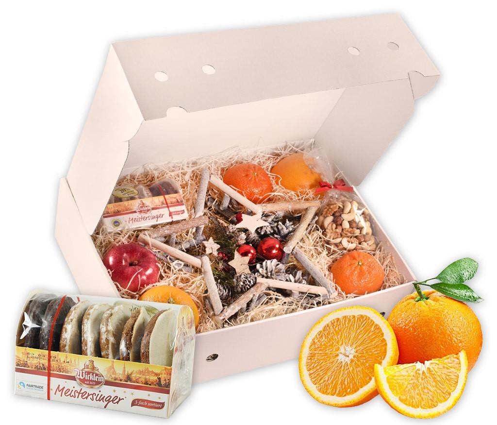 Obstbox Weihnachtsstern mit dekorativem Holzstern, feinsten Lebkuchen, Nüssen und frischem Obst
