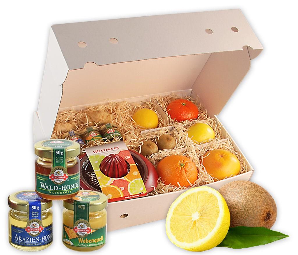 Obstbox Gute Besserung mit vitaminreichem Obst, Ingwer, Honig und Zitronenpresse