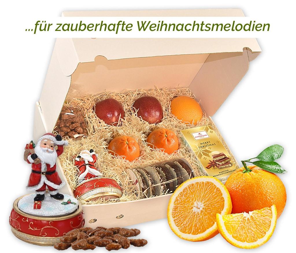 Obstbox Spieluhr mit zauberhafter Spieluhr, gebrannten Mandeln, Lebkuchen und frischem Obst