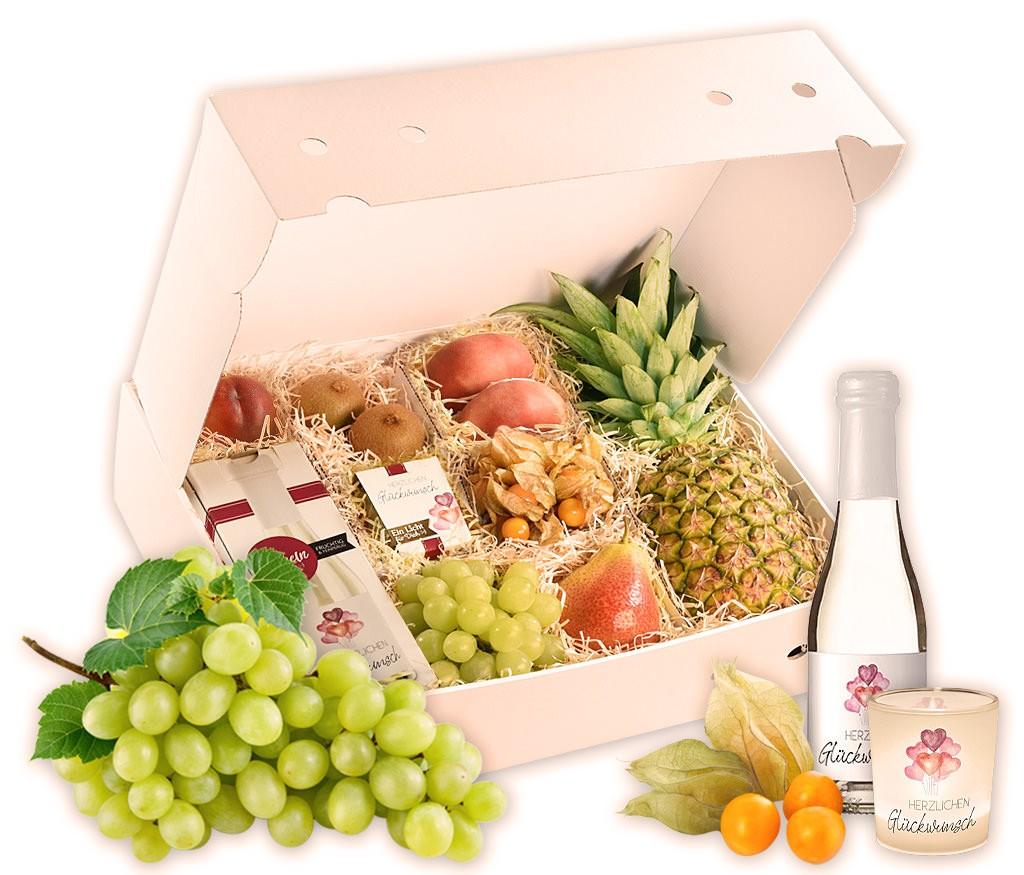 Obstbox Herzlichen Glückwunsch mit frischem Obst, Geburtstags-Prosecco und Windlicht