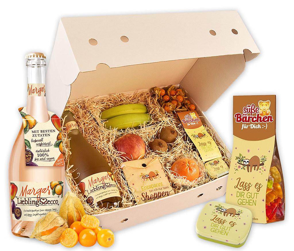 """Obstbox """"Lass es dir gut gehen"""" mit frischem Obst, fruchtigen Gummibärchen, Minzpastillen und Einkaufsbeutel"""