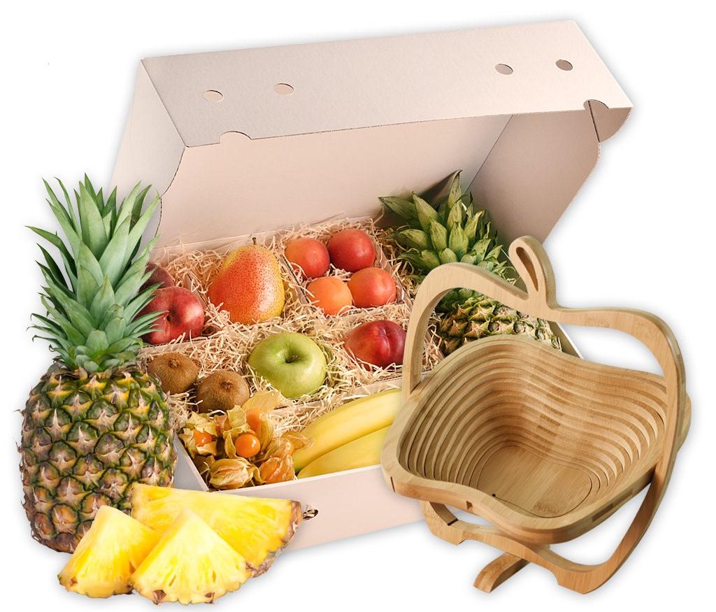 Obstkorb Holzapfel als tolle Geschenkidee mit dekorativen Holzapfelkorb und vielen frischen Früchten