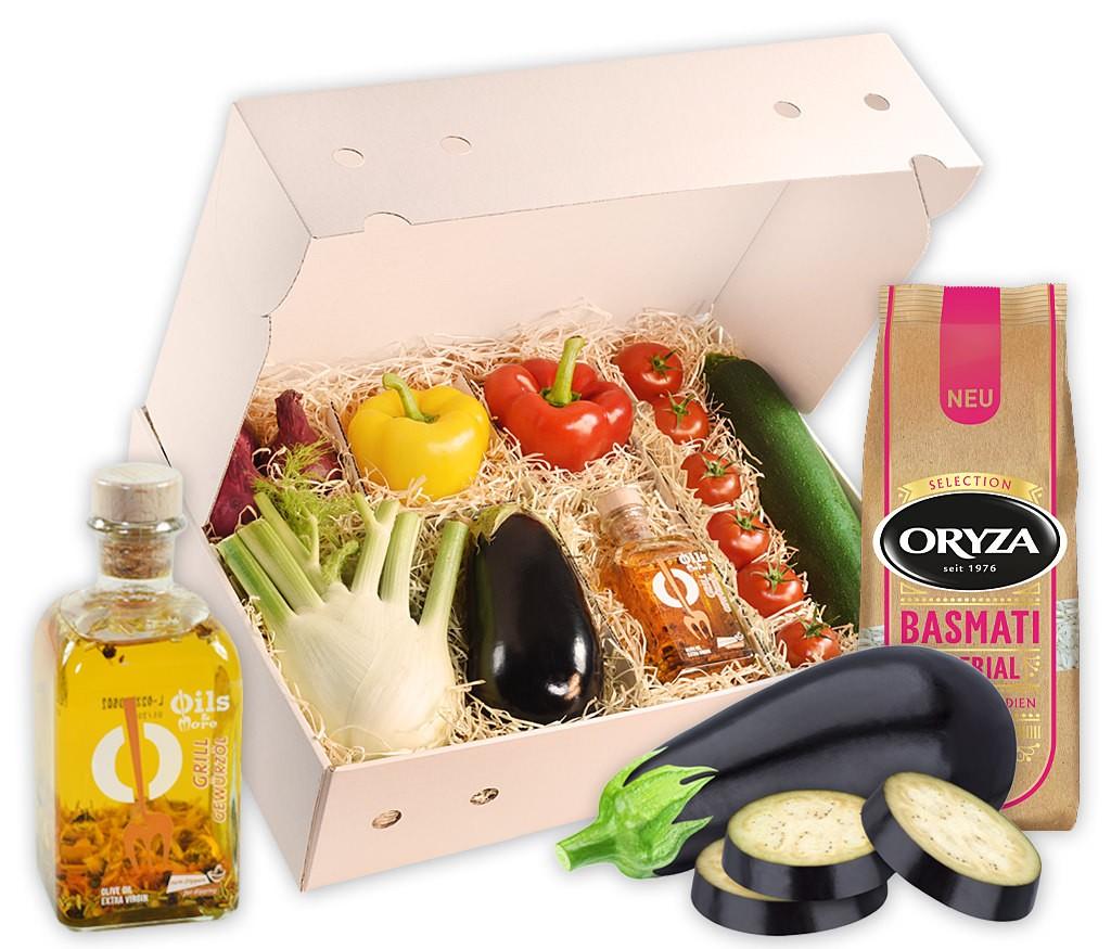 Rezeptbox Pfannen-Gemüse mit allen Zutaten für eine leckere Gemüsepfanne inklusive Gewürzöl