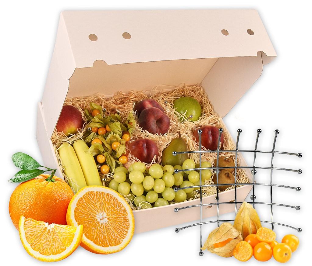 Obstkorb aus Metall als ideales Geschenk mit frischen Früchten