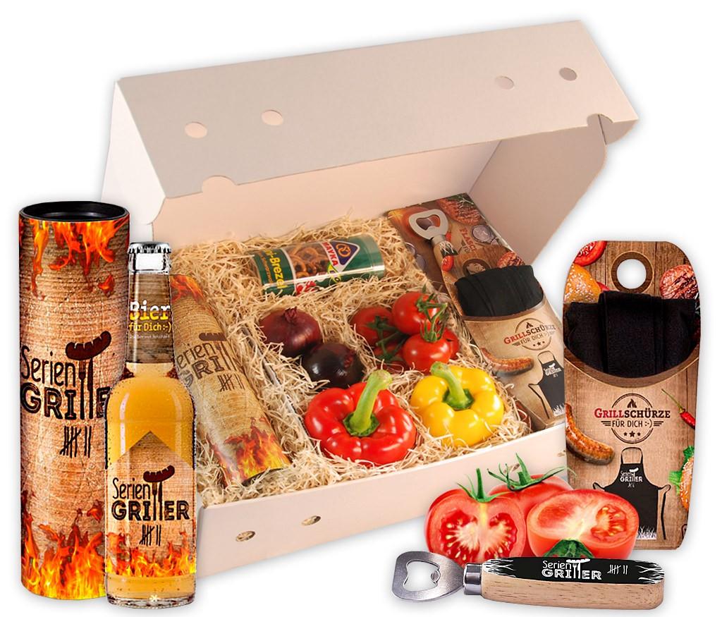Grillbox Seriengriller mit knackigem Paprika, Zwiebeln, Tomaten, knackigen Brezeln, Grillschürze, Flaschenöffner und Bier