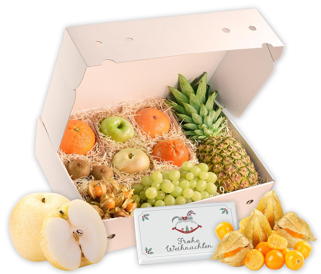 Obstbox Weihnachtlicher Kaminzauber, knackige und vitaminreiche Früchte und weihnachtliche Schokolade in einer schönen Geschenkbox