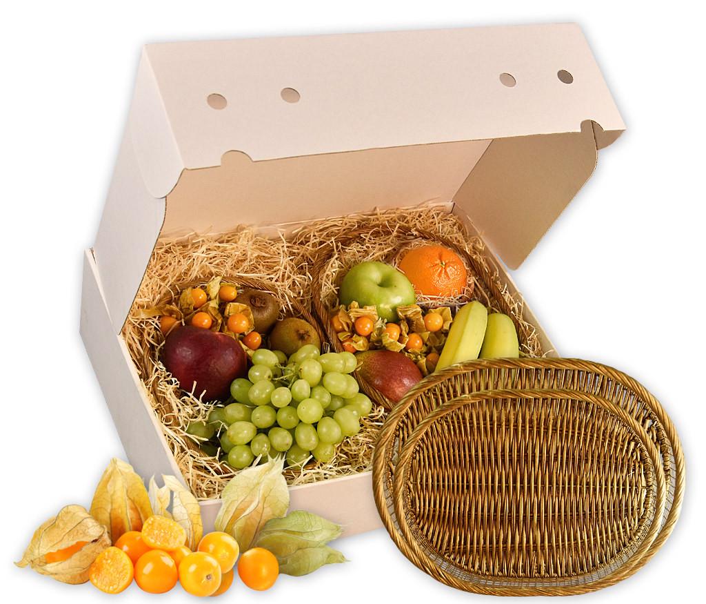 Obstkorb Duo als ideales Geschenk mit frischen Früchten und zwei klassischen Obstkörben