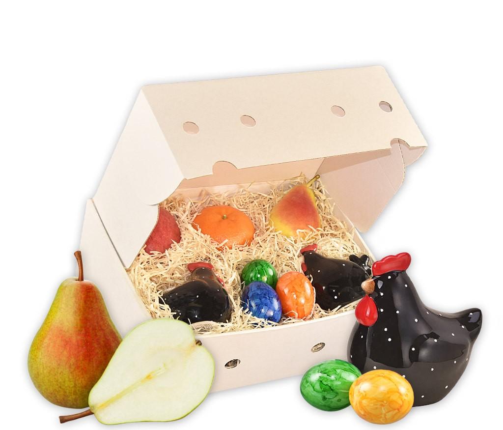 Obstbox Osterspaß mit belgischen Schokoladenfiguren, bunten Ostereiern und frischem Obst