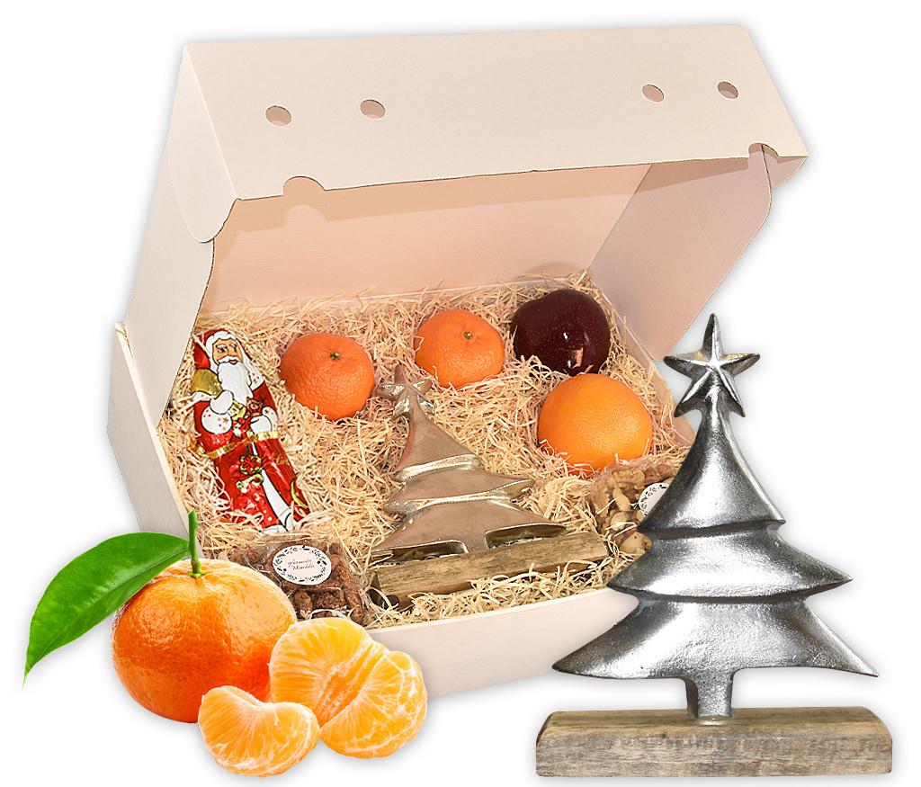 Obstbox Silbertanne mit gebrannten Mandeln, Nusskernen, einem Metall-Tannenbaum und frischem Obst