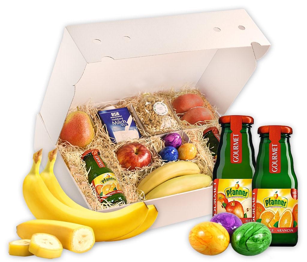 Obstbox Good-Morning mit allen Zutaten für ein perfektes Frühstück, frisches Obst, Saft, Müsli, Eier und Milch