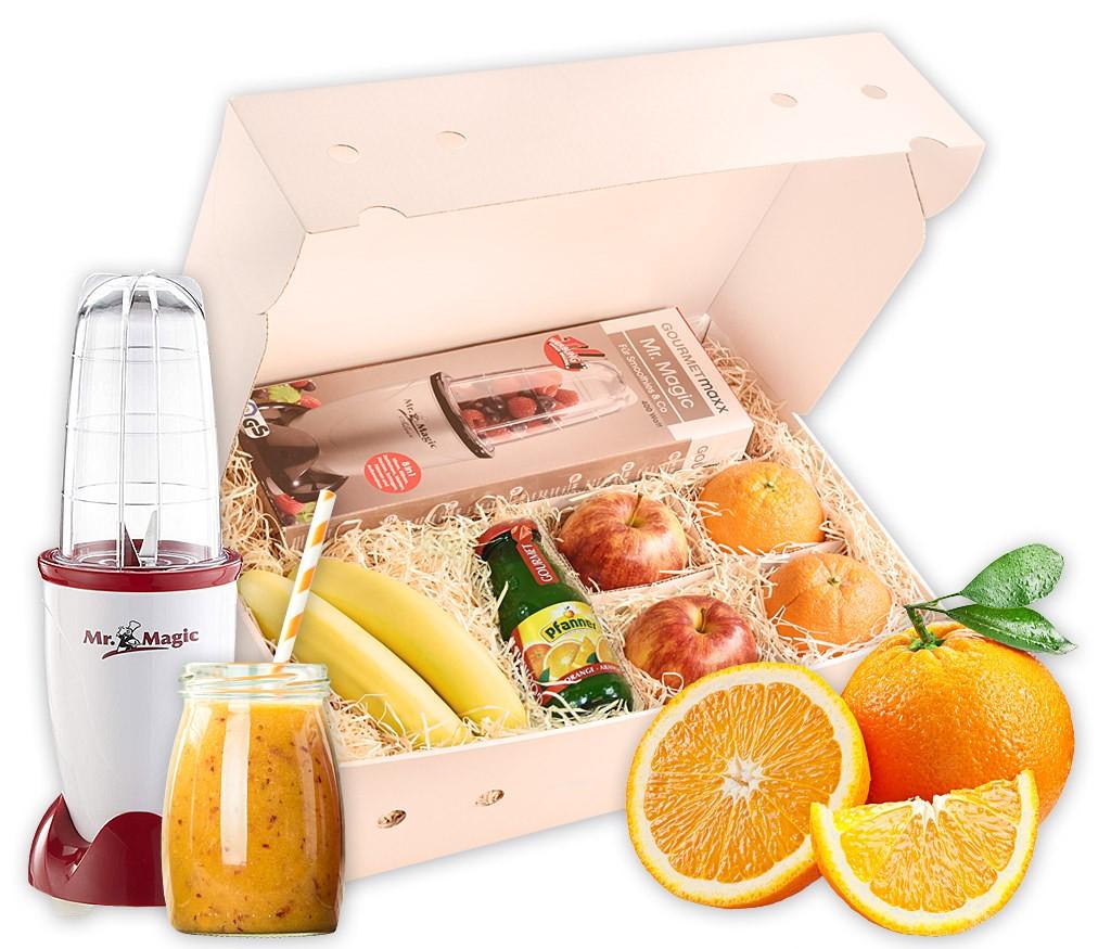 Smoothiebox mit frischen Früchten für einen leckeren Smoothie, wahlweise mit Smoothie-Maker Mr. Magic