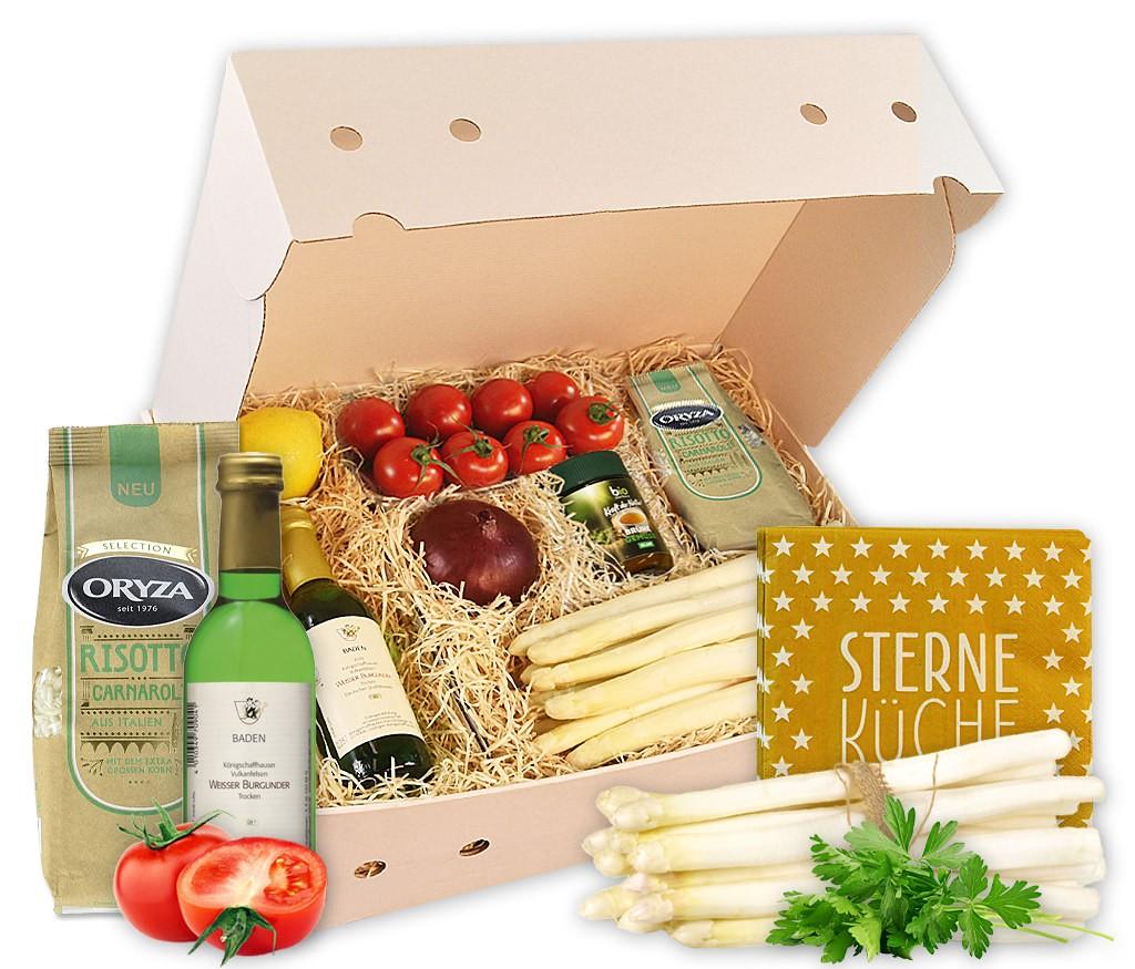Rezeptbox Spargelrisotto mit trockenem Weißwein, Risottoreis, Gemüsebrühe, frischem Spargel, Tomaten, Zwiebel, Zitrone und witzigen Servietten