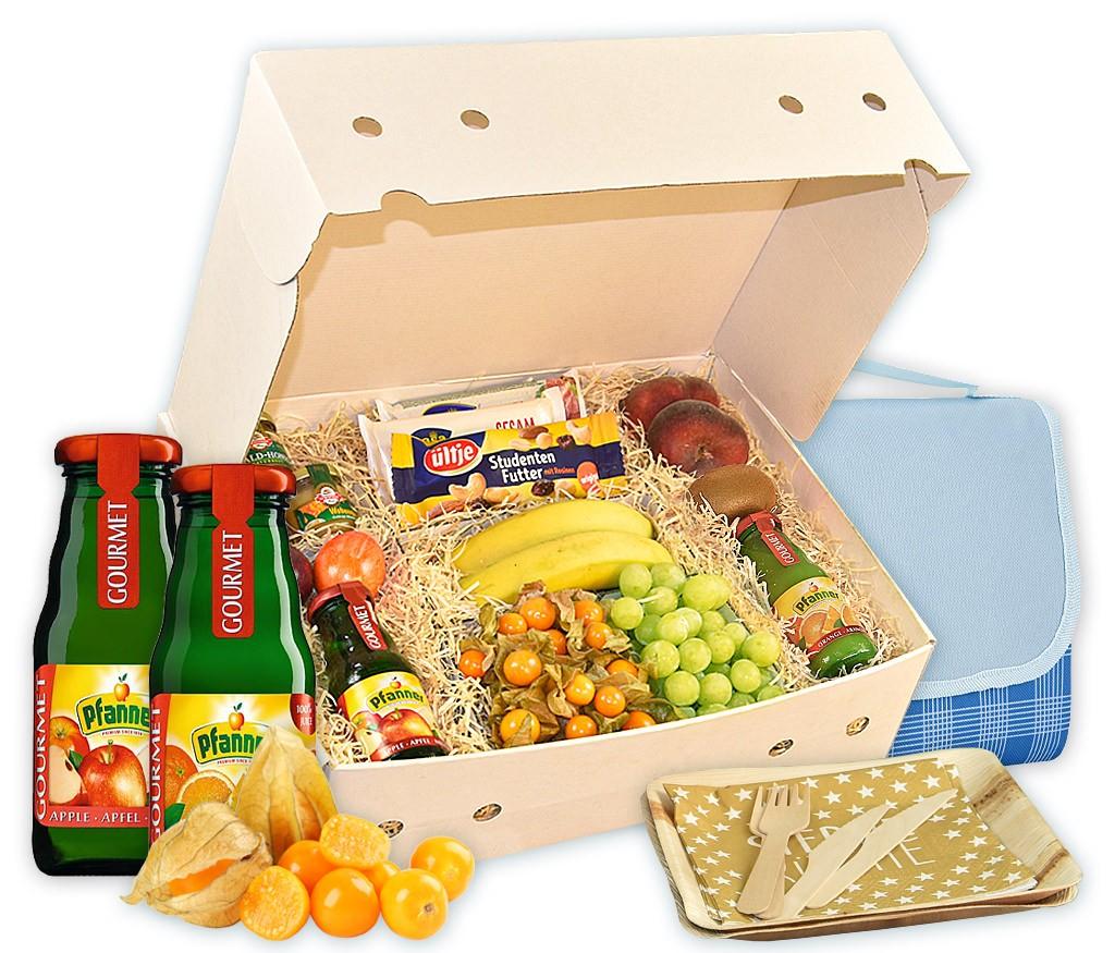 Obstbox Picknick-for-two, Saft, frische Früchte und gesunder Honig für ein Picknick zu Zweit