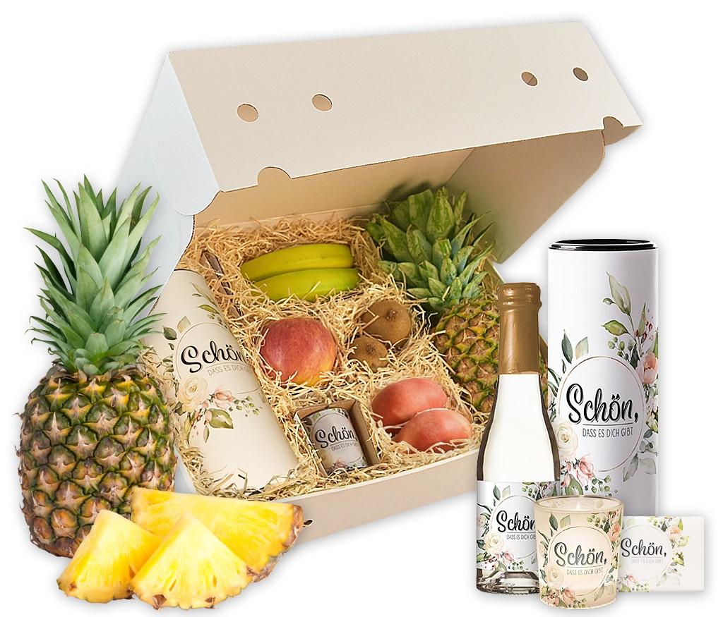 """Obstbox """"Schön, dass es dich gibt"""" mit trockenem Weißwein, Schokolade, Windlicht und frischem Obst"""