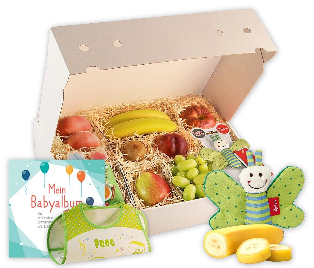 Obstbox Glückwünsche zur Geburt mit frischem Obst, Babytagebuch, Tee, Kuscheltier und Ohrstöpsel in einer Geschenkbox