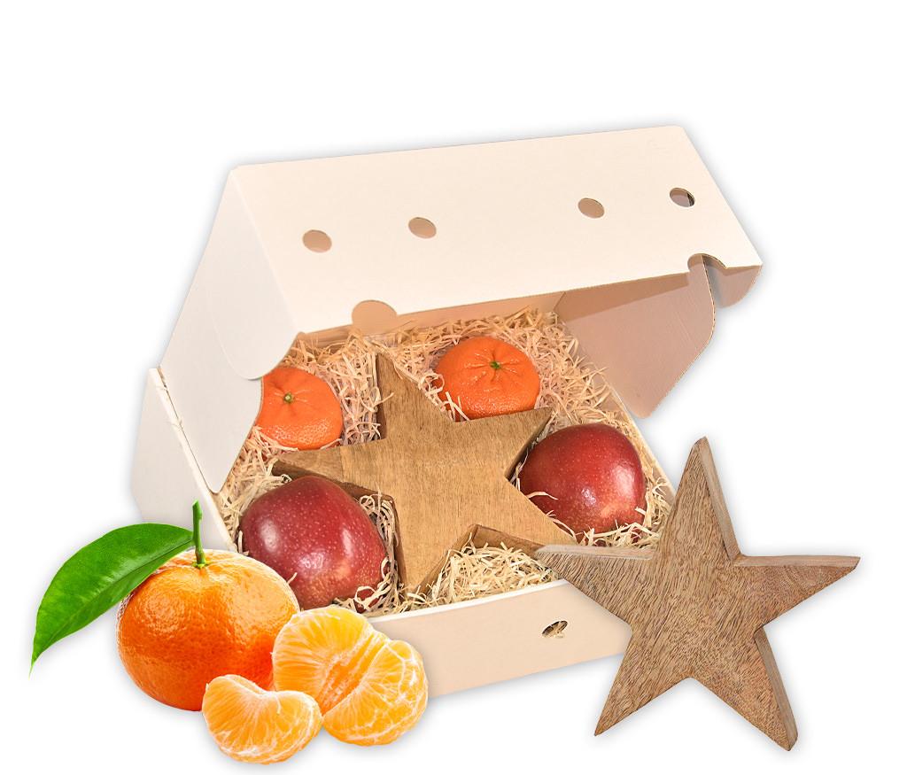 Obstbox Kleiner Weihnachtsstern mit einem Holzstern und frischen Früchten