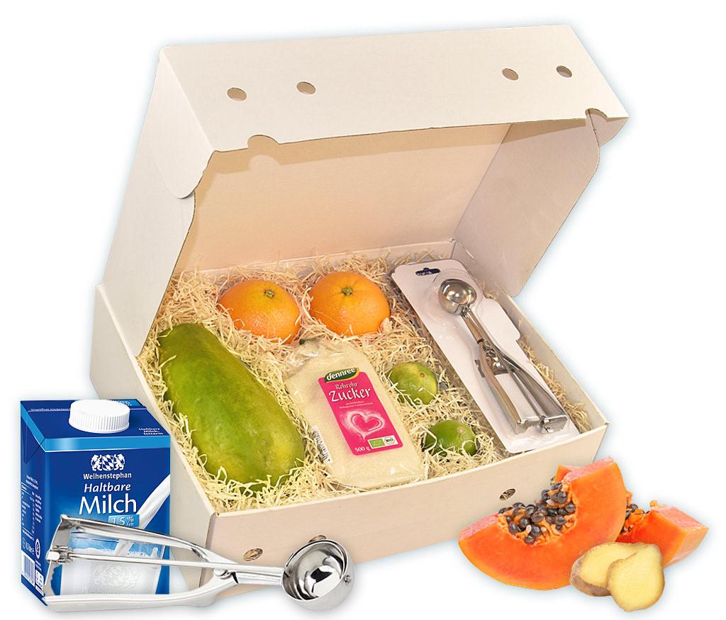 Obstbox Papaya-Eis, alle Zutaten für ein leckeres Eis mit Rezeptbuch und WMF-Eisportionierer in einer Geschenkbox