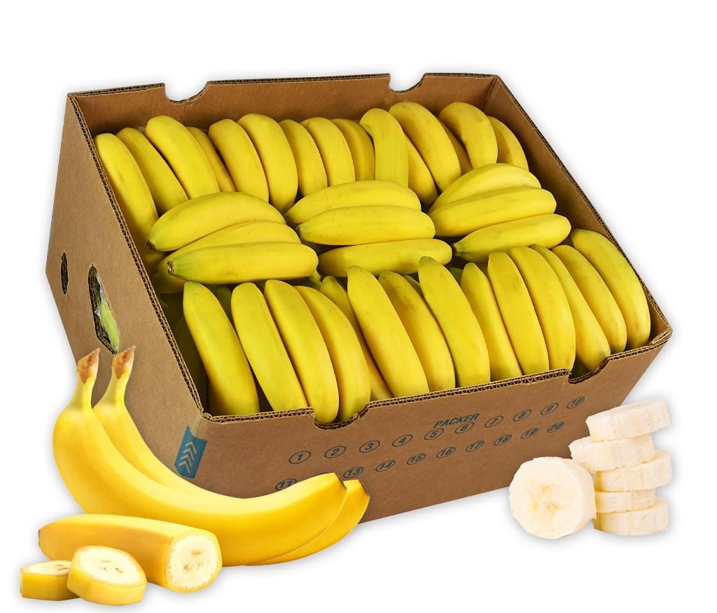 Business-Bananen-Originalkiste für die gesunde Pause zwischendurch mit viel frischem Obst für den Arbeitsplatz